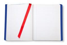 Otwiera ćwiczenie pustą książkę. obrazy royalty free