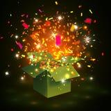 Otwiera żółtego prezenta pudełko, confetti i również zwrócić corel ilustracji wektora Obrazy Royalty Free