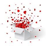 Otwiera białych prezentów confetti i pudełko abstrakcjonistycznych gwiazdkę tła dekoracji projektu ciemnej czerwieni wzoru star w Obraz Stock
