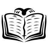 Otwiera biblię, latającego ptak, duchowość i wiara, ilustracji