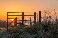 Otwiera bramę wschodem słońca Zdjęcie Royalty Free