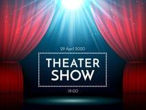 Otwiera czerwone zasłony na scenie iluminującej światłem reflektorów Dramatyczna teatru lub opery przedstawienia scena Występu sh ilustracja wektor