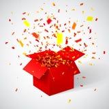 Otwiera Czerwonego prezenta pudełko, confetti i również zwrócić corel ilustracji wektora Fotografia Royalty Free