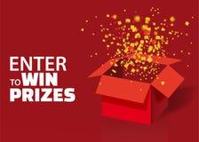 Otwiera Czerwonego prezenta pudełko, confetti Z Kolorowymi cząsteczkami i Wchodzić do Wygrywać nagrody Loteryjny Rysunkowy Reklam ilustracja wektor