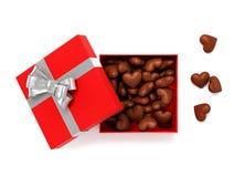 Otwiera czerwonego prezenta pudełko z czekoladowymi sercami inside ilustracja 3 d Obraz Royalty Free