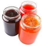 Otwiera dekiel Butelkującej czarnej jagody, truskawka, Pomarańczowy dżem VII Obrazy Stock