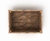 Otwiera drewnianego pudełko na białego tła frontowym widoku Zdjęcia Stock