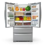 Otwiera fridge chłodziarkę jedzenie i napoje odizolowywający na wh pełno ilustracji