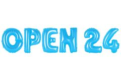 Otwiera 24 godziny, błękitny kolor Zdjęcia Royalty Free