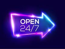 Otwiera 24 7 godziny 3d Lekkiego baru Retro Strzałkowaty pointer Obrazy Royalty Free