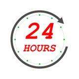 Otwiera 24 godziny ikony eps10 Dwadzie?cia cztery godzina otwieraj? us?ugowego zegar z strza?? ilustracja wektor