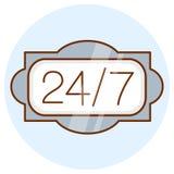 Otwiera 24 godziny na dobę, 7 dni w tygodniu ikona Online znak przez całą dobę Barwiony mieszkanie linii projekt ilustracji