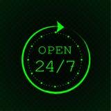 Otwiera 24 7 i stylizującego zegar, zielony neonowy światło Zdjęcie Stock