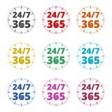 Otwiera 24/7, 365 -, 24/7 365, 24/7 365 ikon, kolor ikony ustawiać Obraz Royalty Free