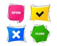 Otwiera ikony i zamyka Czek lub cwelich Deleatur znak wektor ilustracji
