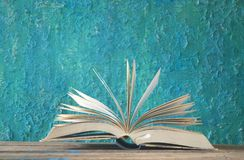 Otwiera książkę, czytanie, uczenie, edukaci pojęcie, dobry odbitkowy spac Zdjęcia Royalty Free