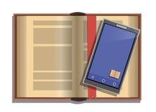 Otwiera książkę i telefon z app dla czytać Zdjęcia Stock