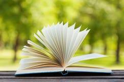Otwiera książkę na ławce w parku w słonecznym dniu, czyta w lecie szkoły pojęcie, edukacja, podręcznik, z powrotem fotografia stock