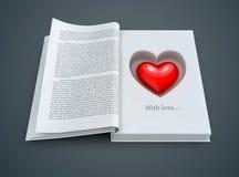Otwiera książkę z czerwonym sercem inside ilustracji