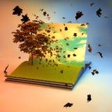 Otwiera książkę z drzewem na stronie Obrazy Royalty Free