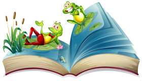 Otwiera książkę z dwa żabami w stawie Obrazy Royalty Free