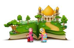 Otwiera książkę z grupą szczęśliwa muzułmańska kobieta i jej dzieci w przodzie meczet ilustracji
