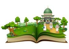 Otwiera książkę z grupą szczęśliwi muslims ludzie przed Islamskim meczetem royalty ilustracja