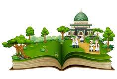 Otwiera książkę z grupą szczęśliwi muslims ludzie przed Islamskim meczetem ilustracji