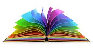 Otwiera książkę z kolorowymi stronami royalty ilustracja