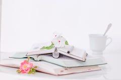 Otwiera książkę z kwiatami i kawą w ranku obraz royalty free
