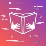 Otwiera książkę z ręki wektorową ikoną na kolorowym gradientowym backgrou ilustracji