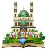 Otwiera książkę z szczęśliwymi islamskimi dzieciakami Eid Mosul przed meczetem i kolorowym tekstem ilustracji