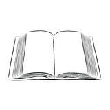 Otwiera książkowej ręki remis ilustracja wektor