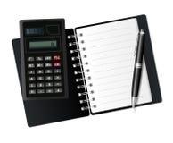 Otwiera notatnika, kalkulatora i pióra. Zdjęcia Stock