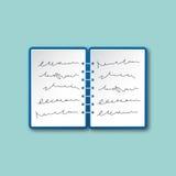 Otwiera notatnika odgórnego widoku odizolowywającego wektor Obrazy Royalty Free