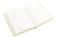 Otwiera notatnika odizolowywającego na białym tle Obrazy Stock