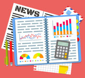 Otwiera notatnika z planów biznesowych dane ilustracja wektor