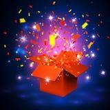 Otwiera pomarańczowego prezenta pudełko, confetti i również zwrócić corel ilustracji wektora Obraz Stock