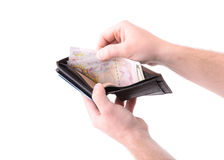 Otwiera portfel obraz royalty free