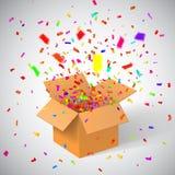 Otwiera prezentów confetti i pudełko abstrakcjonistycznych gwiazdkę tła dekoracji projektu ciemnej czerwieni wzoru star white rów Obrazy Royalty Free