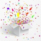 Otwiera prezentów confetti i pudełko abstrakcjonistycznych gwiazdkę tła dekoracji projektu ciemnej czerwieni wzoru star white rów Fotografia Royalty Free