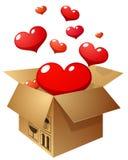 Otwiera prezent z latającymi sercami na białym tle Zdjęcie Stock