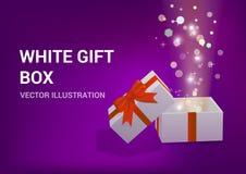 Otwiera prezenta pudełko z jaskrawymi promieniami światło Ilustracja Wektor
