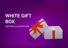 Otwiera prezenta pudełko z jaskrawymi promieniami światło Royalty Ilustracja