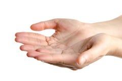 Otwiera ręki odizolowywać Zdjęcie Stock