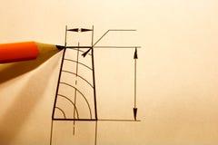 Otwiera rysunki z ołówkiem Konstruować i projekt Fotografia Stock