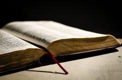 Otwiera starą książkę. Fotografia Stock