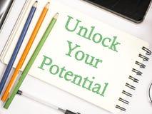 Otwiera Twój potencjał, Motywacyjne Inspiracyjne wycena obrazy royalty free