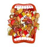 Otwiera usta i jedzenie Absorbowanie karma Je dużo posiłek bardzo ilustracji