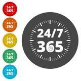 Otwiera 24/7, 365 -, 24/7 365, 24/7 365 znaków Zdjęcie Stock